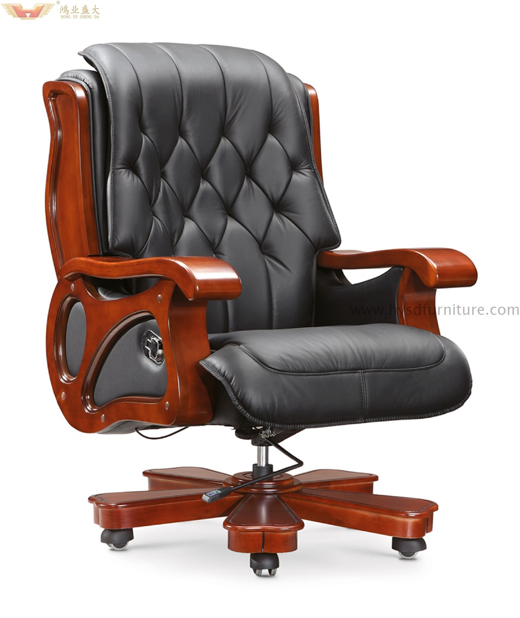wood and leather executive office chairs berkline massage chair antique furniture luxury wooden a 012 swivel with armrest modern traditional