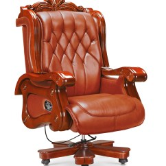 High End Chair Homemade Sex Luxury Genuine Leather Wooden Foots Office Boss Executive