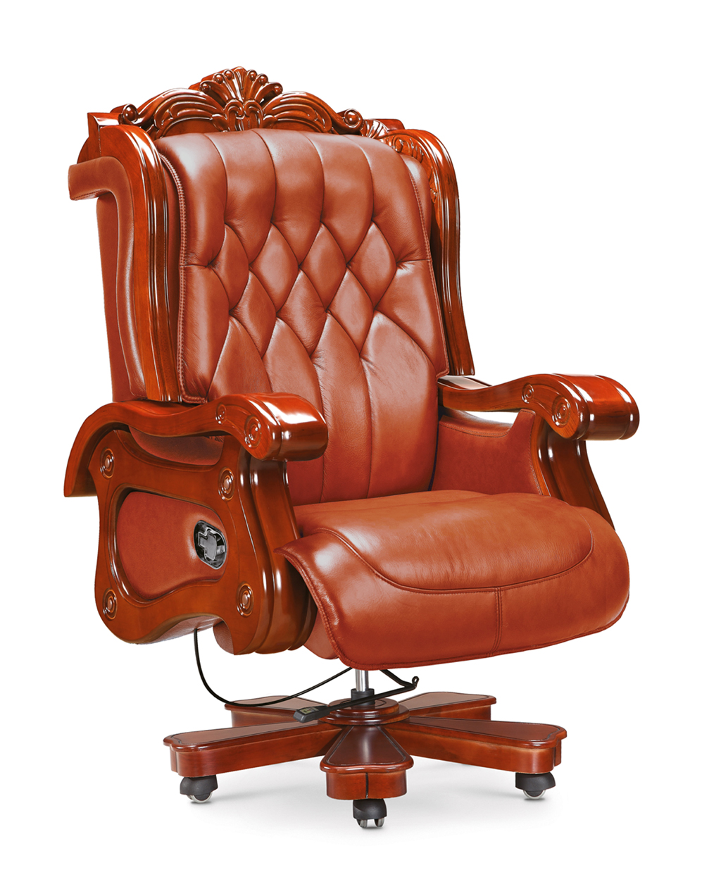 wooden executive office chairs swivel recliner luxury genuine leather foots boss