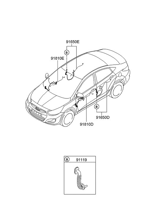 2011 Hyundai Accent New Body Style Door Wiring