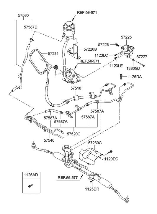 2011 Hyundai Accent Old Body Style Power Steering Oil Line