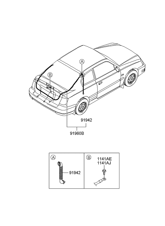 2005 Hyundai Accent Old Body Style Tail Gate Wiring
