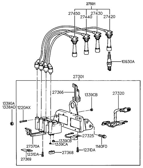 2000 Hyundai Tiburon Spark Plug & Cable (Beta Engine)