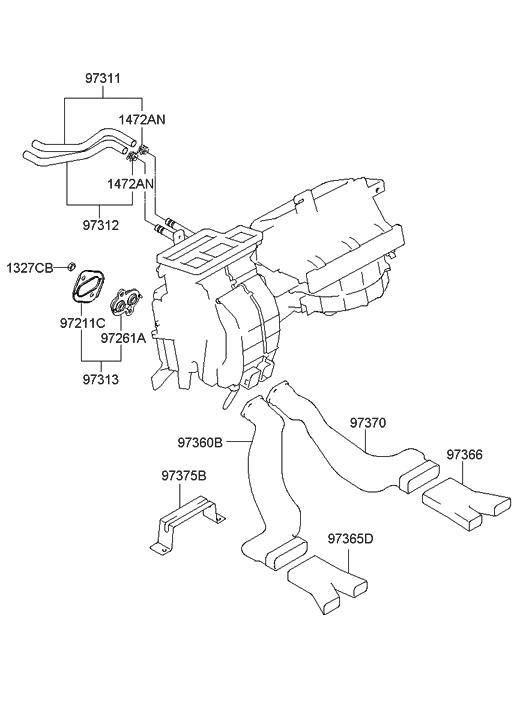 2007 Hyundai Tiburon Heater System-Duct & Hose