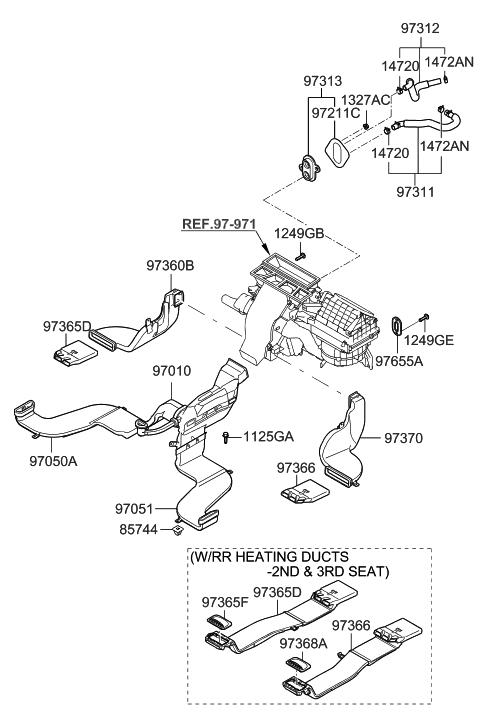 2007 Hyundai Santa Fe Heater System-Duct & Hose