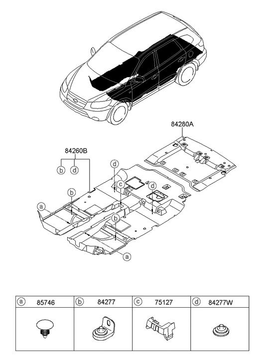 2009 Hyundai Santa Fe Old Body Style Floor Covering