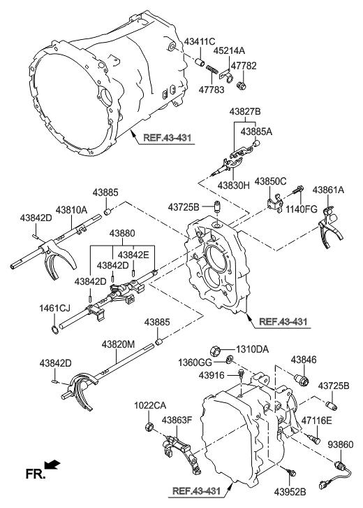 2011 Hyundai Genesis Coupe Gear Shift Control-Manual