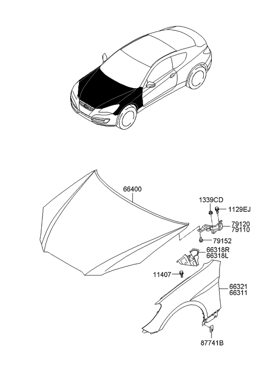 2010 Hyundai Genesis Coupe Fender & Hood Panel