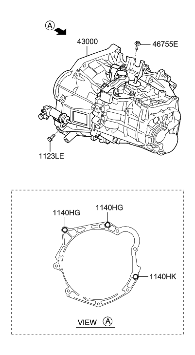 2012 Hyundai Elantra Korean made Transaxle Assy-Manual