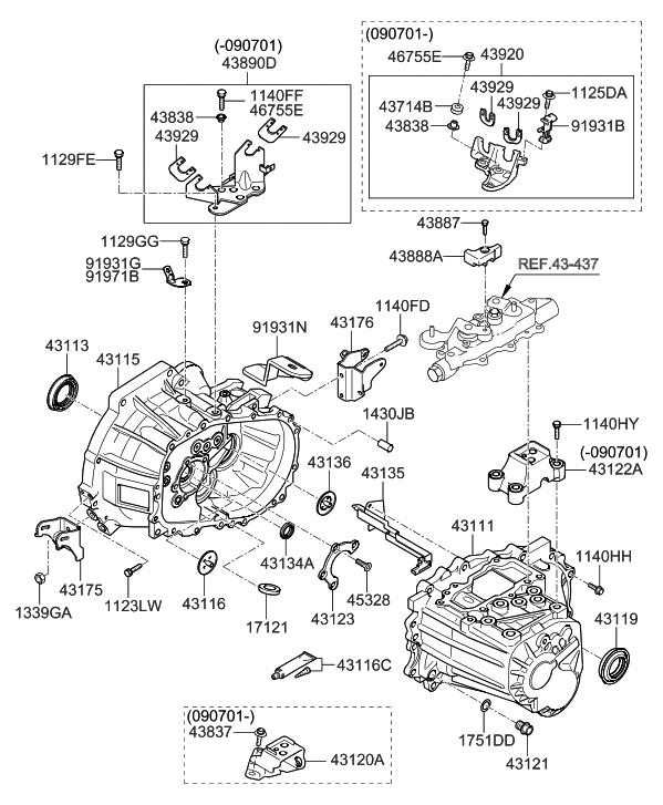 2011 Hyundai Elantra Touring Transaxle Case-Manual