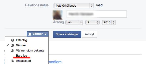 Ändra relationsstatus på Facebook