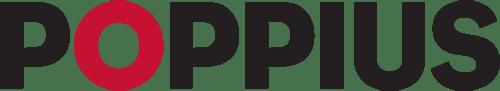 Poppius logotyp i svart med rött O