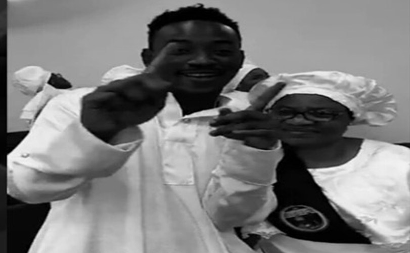 Dammy Krane goes to church with his mum after his ordeal with the law