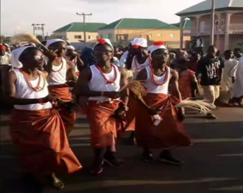 Hausa boys parading the streets dressed in Igbo attires on Sallah day.
