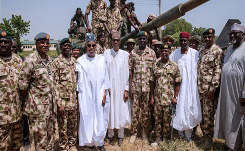 President Buhari spends time with troops on Independence Day