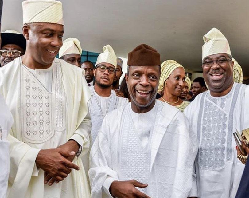 Photos: VP Osinbajo, Dangote, Ajimobi and others attends Senate President's daughter engagement