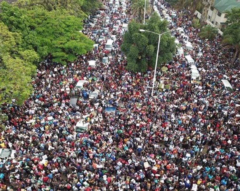 Photos: Mammoth crowd protests against Zimbabwe's Robert Mugabe