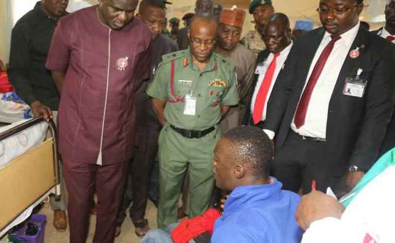 Photos: Chief of Army Staff, Lt. Gen. Buratai, visits wounded soldiers in Kaduna