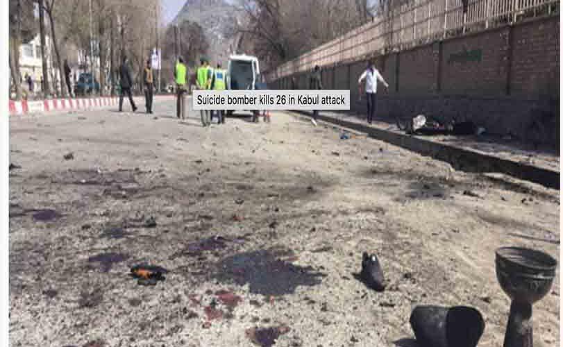Suicide bomber kills 26 in Kabul attack