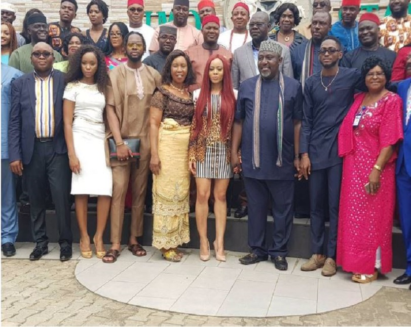 Gov. Okorocha Dances 'Shaku Shaku' With Ex-BBNaija HMs, Splashes Millions On Them In Owerri (Photos/Video)