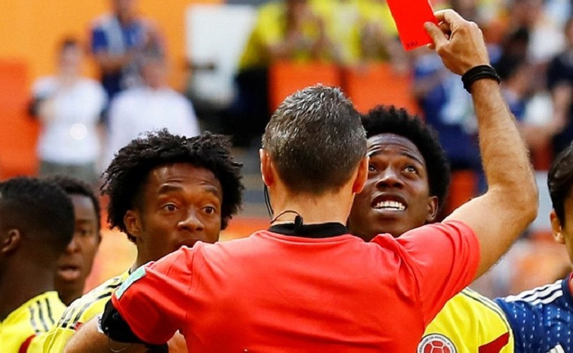 2018 World Cup: Carlos Sanchez Becomes The First Player To Get A Red Card (Photos)