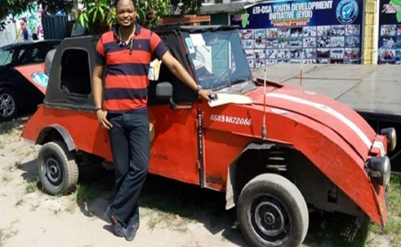 Talented Young Man Shows-off His Newly Invented made-in-Nigeria Car