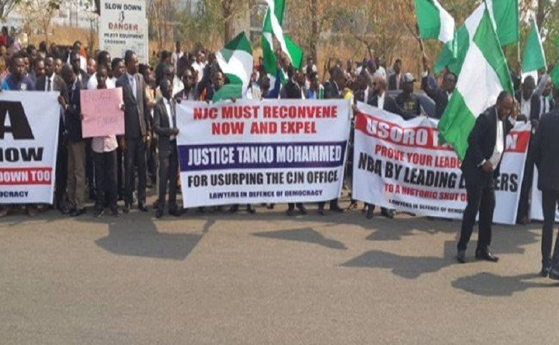 Lawyers, CSOs protest over Onnoghen,Tanko Mohammed (Photos and Video)