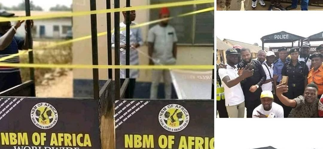 Photos of 'Black Axe' cultists donating iron shelter to traffic police in Osun State