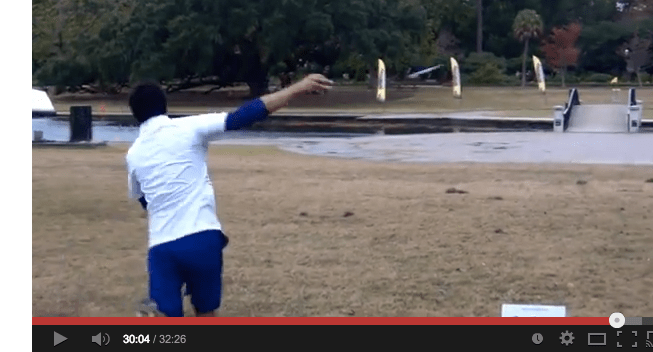 Paul McBeth demonstrating his ridiculously smooth form and the perfect hyzer angle