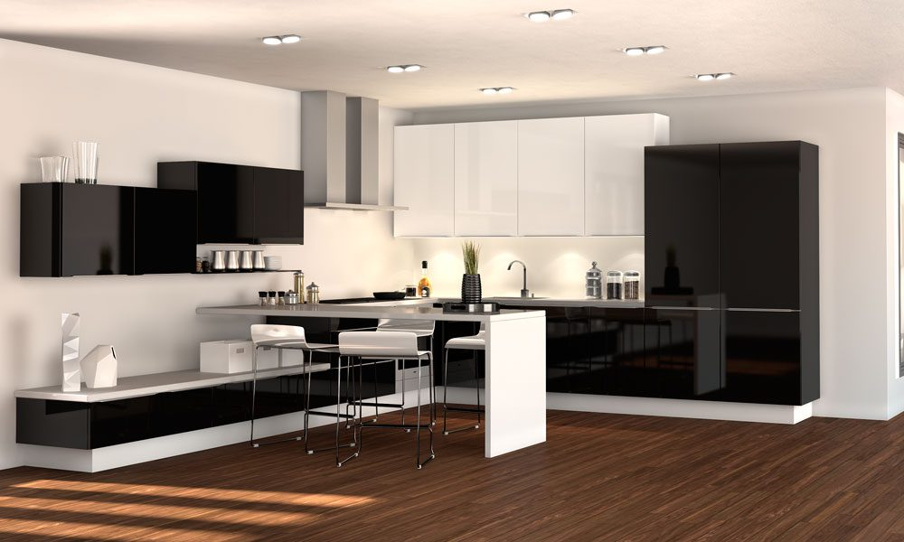Cocinas moderna en blanco y negro  Imgenes y fotos