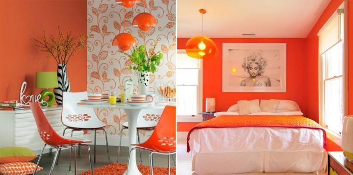 Decoração retro com laranja