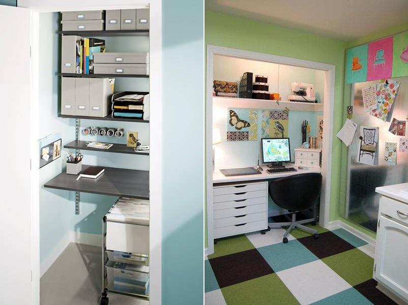 Crear un espacio de trabajo en el armario empotrado