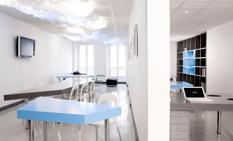 Diseo de una oficina en azul y gris Decoracin del hogar