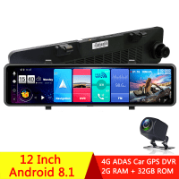 "12"" Car Rearview Mirror 4G Android 8.1 Full HD 1080P Dash Cam GPS Navigation DVR"