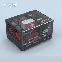 DIY Acrylic Transparent MATX Horizontal Desktop Computer Case ITX Motherboard