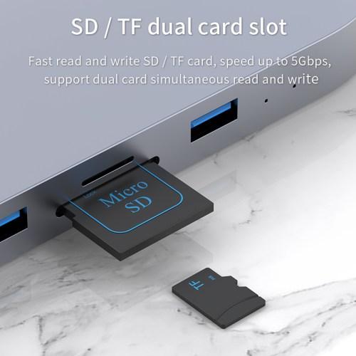 USB-C Type-C Hub SATA Hard Drive Enclosure SSD HDD SD/TF Card Reader for Mac