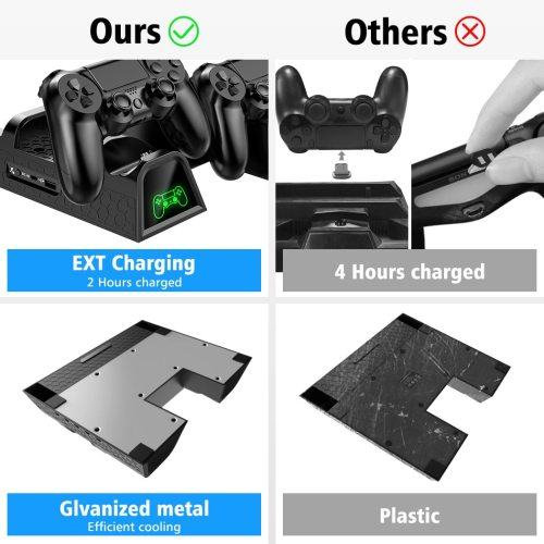 Dual Controller Charger Console Vertical Cooling Stand Charging Station for PS4