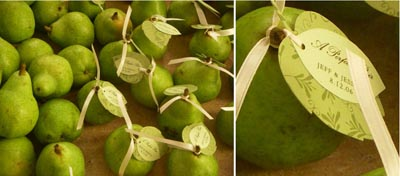 Fruit favors (like pears) can double as place cards. Check out the leaf card at the pears stem.