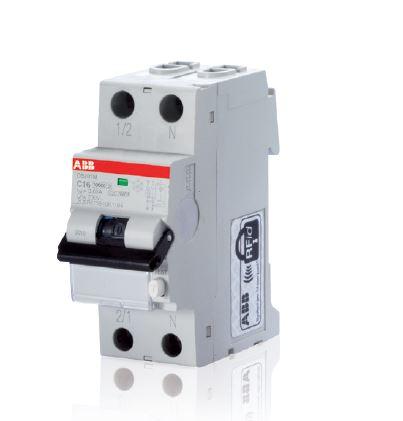 DS201 Typ F, kompakter FI/LS-Schalter (RCBO 1P + N) mit einem Bemessungsstrom von 6… 40A, B- und C-Charakteristik und einem Bemessungsschaltvermögen von 10kA in nur zwei Modulen. (Bild: ABB)