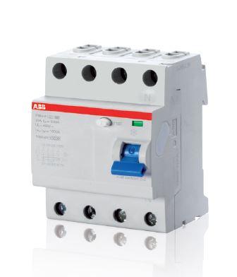 F204 Typ F, FI (RCCB) in vierpoliger Ausführung mit einem Bemessungsstrom von 25, 40, 63A und einem Fehlernennstrom von 30mA zum Schutz von mehreren einphasigen Stromkreisen mit einem einzigen Gerät. (Bild: ABB)