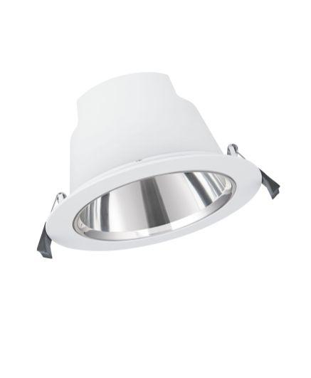 Besonders geeignet für die Grundbeleuchtung in Büroräumen sind die neuen Downlight Comfort mit ihrer sehr guten Entblendung (UGR<19). (Bild: Ledvance)