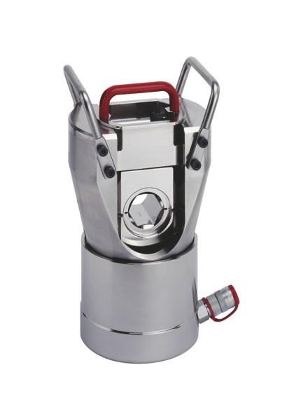 Klauke brachte nun einen einfachwirkenden 100-Tonnen-Presskopf in vernickelter Ausführung zum Anschluss an hydraulische Antriebsaggregate auf den Markt. Bild: Klauke