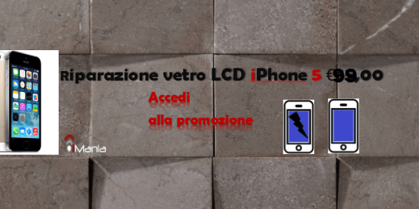 Riparazione sostituzione vetro iphone 5 a €99,00 iMania riparazioni Varese provincia