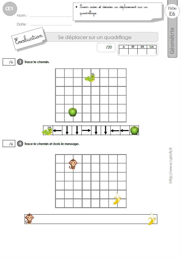 CE1 EVALUATION: se déplacer sur un quadrillage en CE1 cycle 2