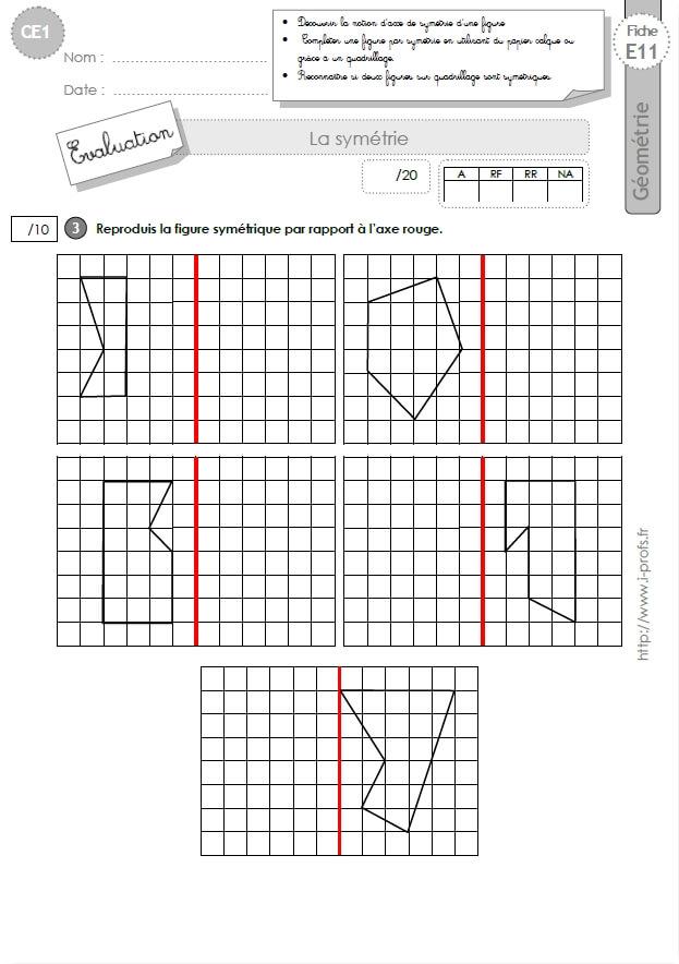 CE1 EVALUATION: Symétrie axiale en CE1 cycle 2