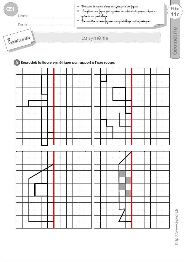 CE1 EXERCICES: Symétrie axiale en CE1 cycle 2