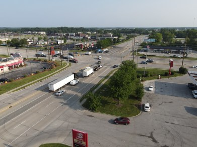 drone shot of an intersection for a personal injury case where an accident happened