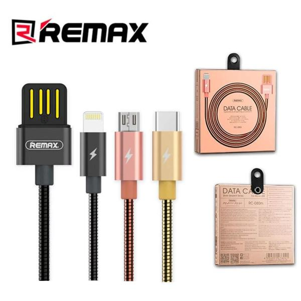 Remax Original Silver Serpent Metal RC 080 21A Fast Charge Data Cable For Lightning iPhone Micro USB Type C Cable 598698619 MY 1216958103