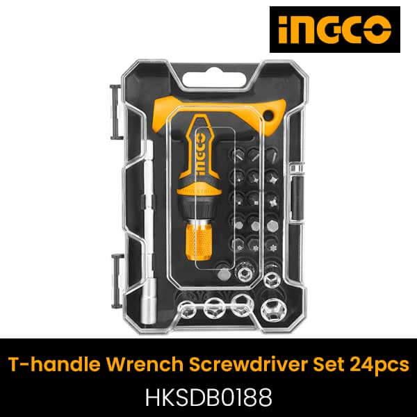 Ingco 24pcs T handle wrench screwdriver set HKSDB0188