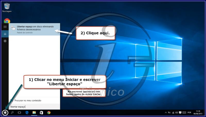 """Clique no menu Iniciar, escreva """"Libertar espaço"""" e clique em """"Libertar espaço em disco eliminando ficheiros desnecessários""""."""